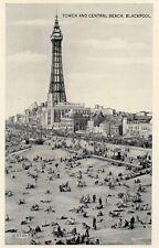 BLACKPOOL Tower & Central Beach - Lancashire Vintage RP Postcard (MXD)