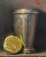 """Lemon & Silver Cup"" NOAH VERRIER Still life oil painting, Signed art print"