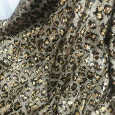 DIY Leopard Print Sequin Fabric Shiny Glitter Prom Fancy Dress Skirt Costume New