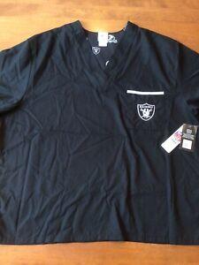NEW W/TAGS  Las Vegas Raiders Team Apparel Black Medical Scrub W/Pocket Size 2XL