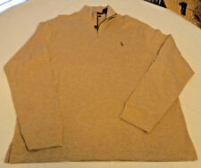 Polo Ralph Lauren 1/4 zip sweater L/S shirt XL Estate Rib Mens Polo Safari Hthr