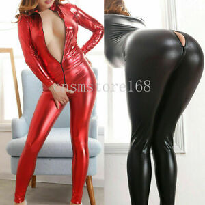 PVC Wetlook Leather Catsuit Zip Crotch Jumpsuit Bodysuit Women Clubwear Lingerie