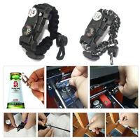 Adjustable Paracord Survival Bracelet Temp Meter SOS LED Whistle Emergency Gear