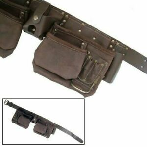 12 Pockets Heavy Duty Tool Leather Belt Pouch 2 Hammer Holders BIG | 10M Tape