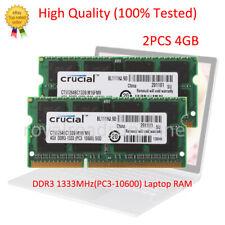 Crucial 8GB 2X 4GB PC3-10600S DDR3 1333Mhz CL9 204Pin SO-DIMM Laptop Memory RAM