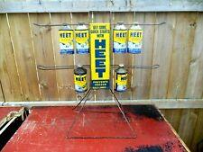 Vintage Heet Antifreeze Painted Metal Gas Oil Sign Display Rack W/ Cone Top Cans