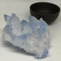 Natural Blue Quartz Geode Druzy Cluster Healing Energy Crystal Specimen Degauss