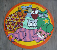 Cats Pop Art OOAK Painting on Board Children's Room Colorful Round Wall Hanging