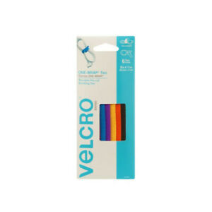 VELCRO One-Wrap Cable Ties, Assorted Colors, 6 Ties