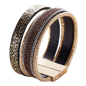 Brown Antique Magnet Closure Cuff Leather with Beads Rhinestone Bracelet Slake