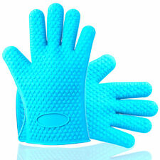 Silikon Ofenhandschuhe Paar Topflappen Grillhandschuhe blau Backhandschuhe Set