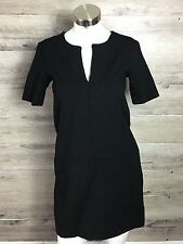 EVERLANE XS BLACK ELBOW SLEEVE V-NECK TUNIC SHIFT DRESS
