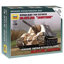 ZVEZDA 6206 Sd.Kfz186 Jagdtiger Tank Destroyer Snap Fit 1:100 Tank Model Kit