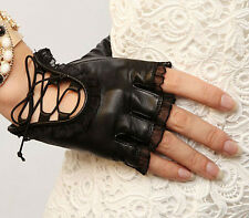 Women Black PU Leather Gloves Lace Sheepskin Bike Motorcycle Mitten SK