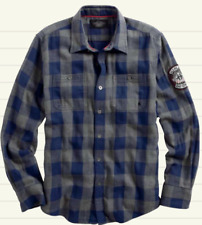 HARLEY-DAVIDSON MOTORCLOTHES MEN'S SMALL GRAY/BLUE LONG SLEEVE PLAID WOVEN SHIRT