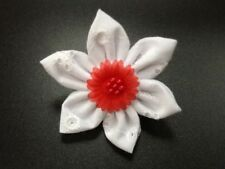 White Broderie Anglais fabric flower brooch pin corsage fashion handmade for bag