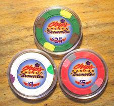 Paulson Chips Casino Chips - Bremerton, Washington - 3 Chip Sample Set