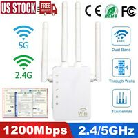 AC1200 Dual Band WiFi Repeater Wireless Extender Booster Router 2.4G/5G Gigabit