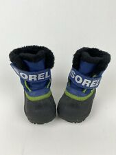Sorel Snow Commander Boys Toddler Blue Snow Boots Size 4 Fleece Lined