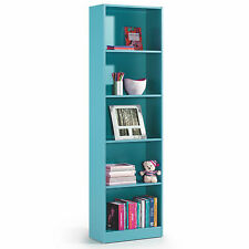 Blue Melamine Leo 5 Tier Shelf Bookcase Childrens Bedroom Furniture