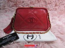 VINTAGE CHANEL Red Lizard Frame Clutch Tassel Bag Gold/ Shortened Chain Strap