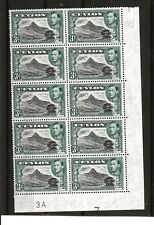 CEYLON (357) 1938 SG387b 3d PLATE BLOCK 3A 7 8 BLOCK OF 10 MOUNTED ON 1 STAMP