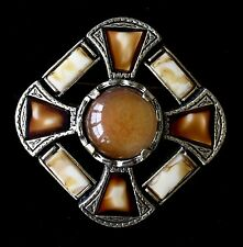 """Vintage Art Glass Silver Tone Root Beer Float Tone Brooch SIGNED MIRACLE 2"""""""