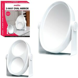 Anika White Small 3-Way Oval Mirror Magnifying Bathroom Shaving Make up Beauty