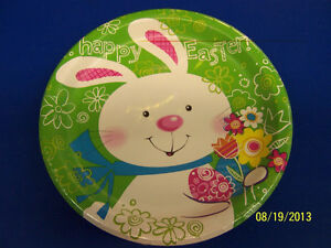 """Hoppy Bunny Easter Rabbit White Cute Theme Holiday Party 9"""" Paper Dinner Plates"""
