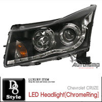 LED Head Lamp Assembly ChromeRing For 08 11 Chevy Cruze