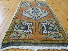 Primitive Antique 1900-1930's,Wool Pile, 1'8'' x 3'1'' Muted Dye Tribal Rug