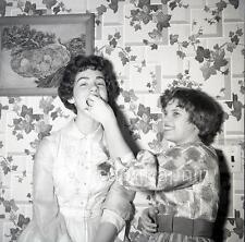 Tween Girls Push Cake Into Friend's Mouth 3 Vintage 1950s Negative Photos