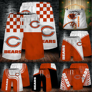 Chicago Bears Men's Beach Board Shorts Quick Dry Swim Trunks Soft Bathing Suits