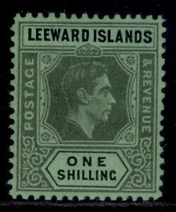 LEEWARD ISLANDS GVI SG110ba, 1s grey & black/emerald, LH MINT. Cat £24.