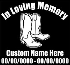 "In Loving Memory Cowboy Boots Vinyl Personalized Memorial Decal 5.5""H"