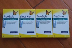 200 Freestyle Precision NEO Glucose Diabetic Test Strips 4 x 50 Exp; 04-12/2021