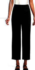 ANN TAYLOR Pant Size 4 Black Wide Leg Ankle Cotton Stretch MSRP $90