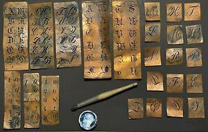 Antique Monogram Sets Stencil Initial Copper Letter  Alphabet Numbers BOX