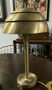 Levenger Will Read Brushed Gold Tone Industrial Metal Lamp Mid Century Modern