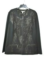 JM Collection Women Black Long Sleeve Full Zip Scoop Neck Casual Jacket 22W