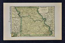 1927 Hammond Map - Missouri St. Louis Columbia Kansas City Jefferson Springfield