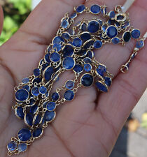 "Over 20+ carats custom blue sapphire bezel set diamond long necklace 34"" long"
