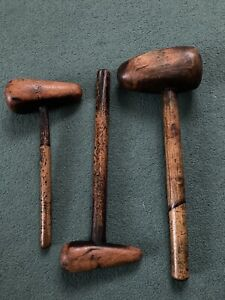 3 VINTAGE LEAD WORKERS BOSSING MALLETS TOOLS