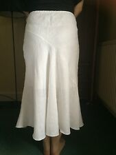 Long White Linen Skirt Authentic James Lakeland Made In Italy UK 10 Lined