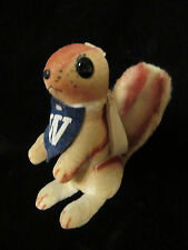 """Vintage Antique Small 5"""" Tall Stuffed Squirrel w/W Pennant Around Neck"""
