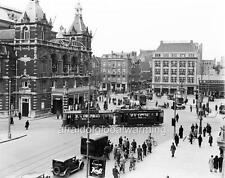 Old Photo. Amsterdam, Holland. Sky View Crowds & Tram