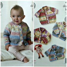 Knitting Pattern Bambino Long & manica corta cardigan Splash DK King Cole 4657