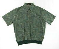 Alan Stuart Mens Polo Shirt L Crazy Multicolor Green Short Sleeve