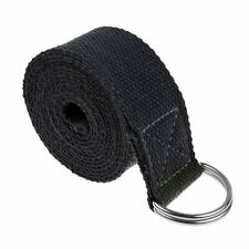 Yoga Straps Entry Level Beginners Durable Cotton Stretching Holding Poses Black