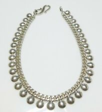 "10"" Anklet Bracelet By Designer Ba Sterling Silver Dangle Charm Curb Chain Round"